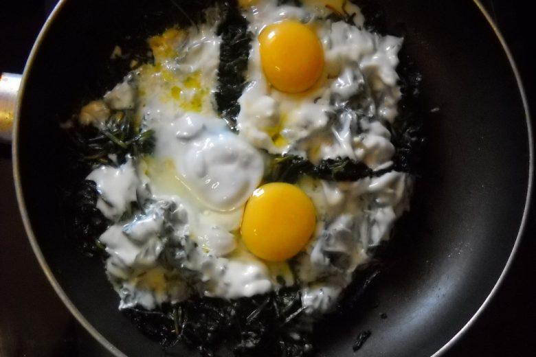 Cicoria pratense con uova e sottilette