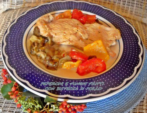 Peperoni e funghi fritti con bistecca di pollo