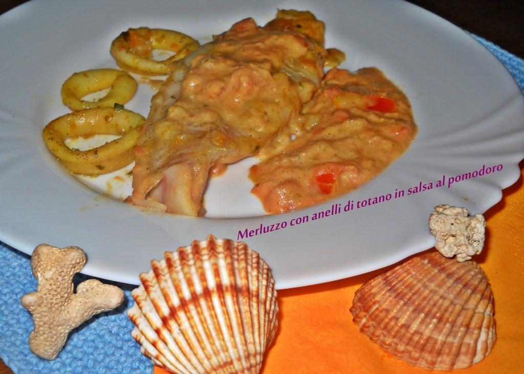 merluzzo con anelli di totano in salsa di pomodoro