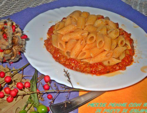 Mezze penne con ragù di pasta di salame