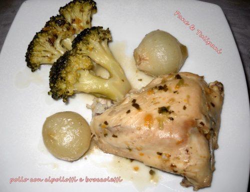 Pollo, cipollotti e broccoletti