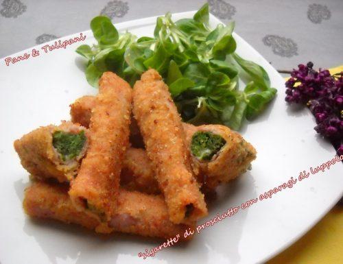 Sigarette di prosciutto cotto con asparagi di luppolo