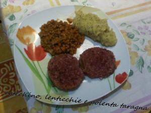 Cotechino, lenticchie e polenta taragna