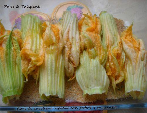 Fiori di zucchina con zola e patate
