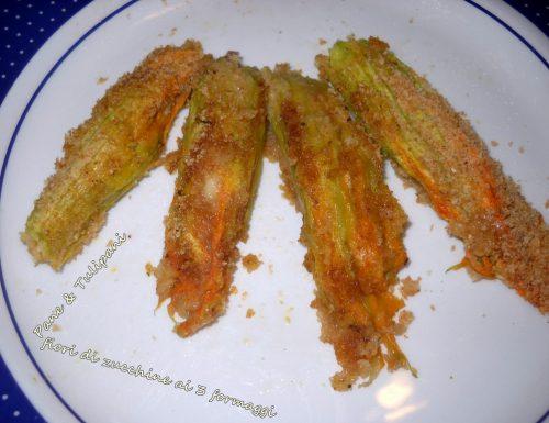 Fiori di zucchine ai 3 formaggi (al microonde)
