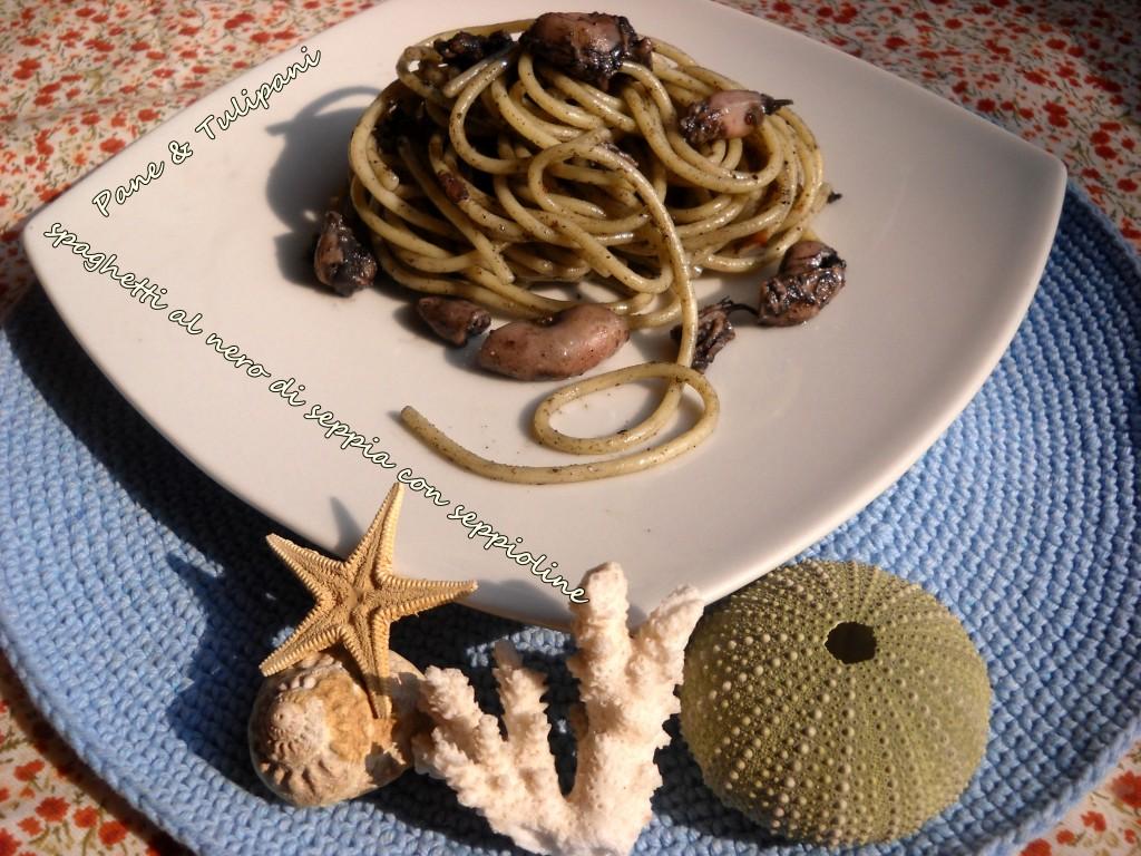 Spaghetti al nero di seppia con seppioline