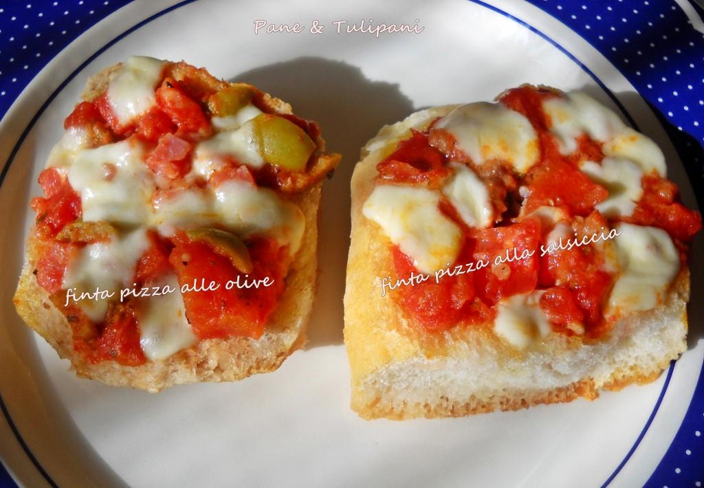 finta pizza alla salsiccia e alle olive