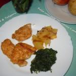 Pollo croccante con cipolle e patate