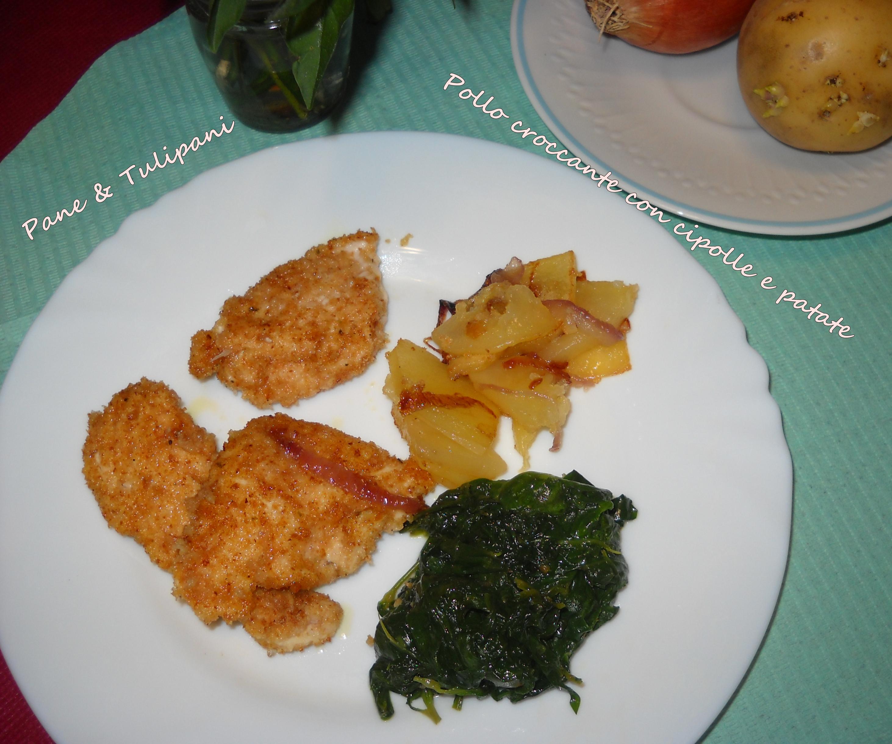 Pollo croccante con cipolle e patate.1