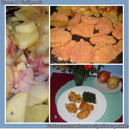 pollo croccante con cipolle e patate.2