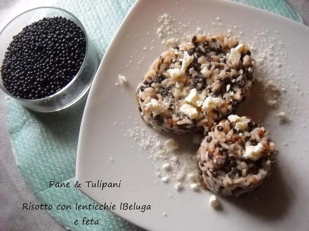 risotto con lenticchie beluga e feta