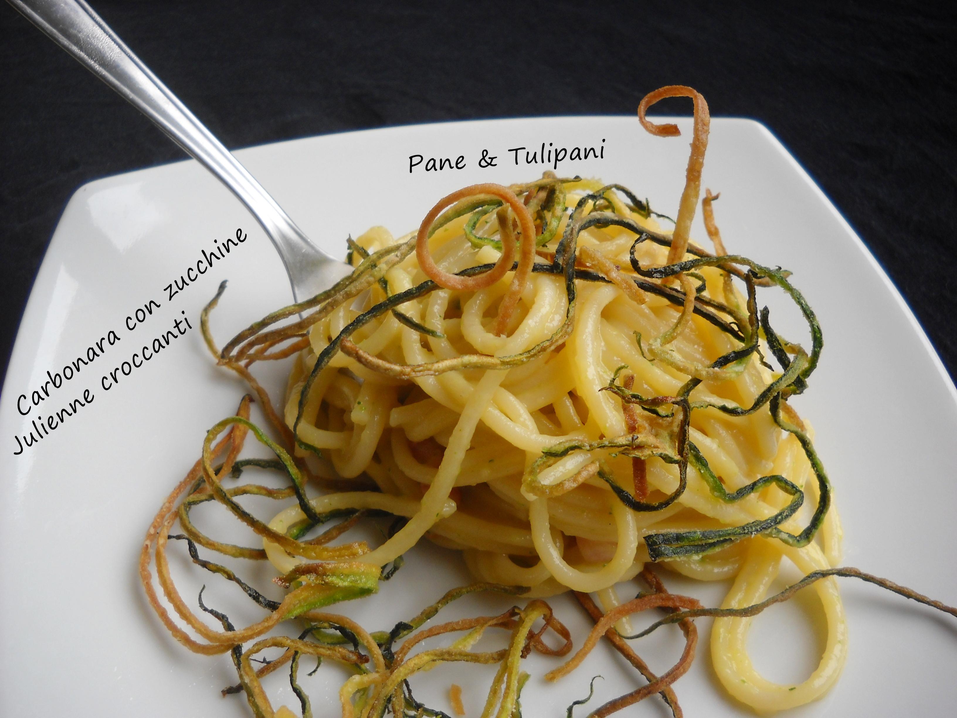 Carbonara con zucchine julienne croccanti pane tulipani - Taglio alla julienne ...