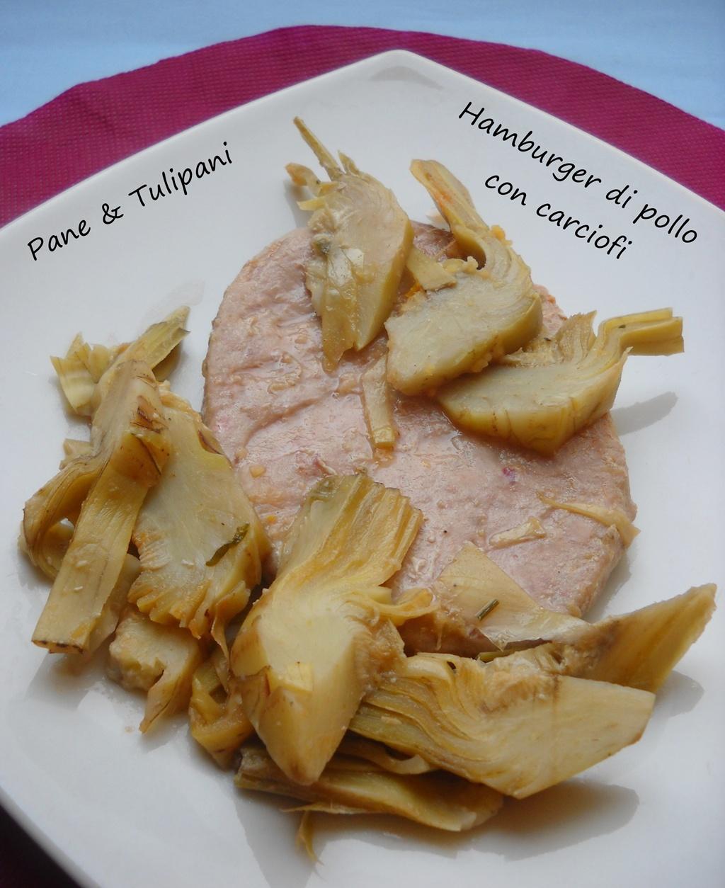 hamburger di pollo con carciofini