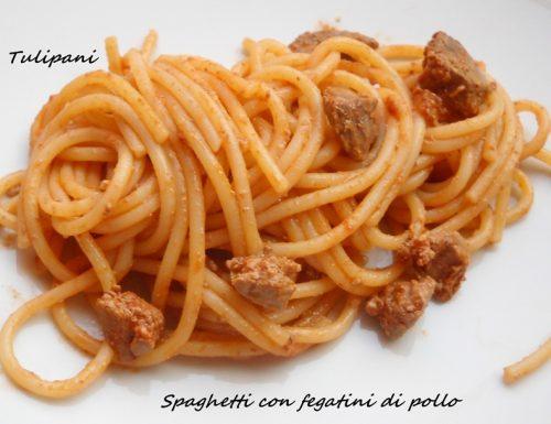 Spaghetti con fegatini di pollo