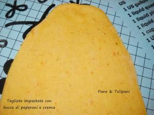 tagliatelle impastate con bucce di peproni e crema.3