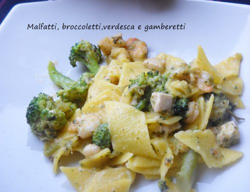 Malfatti, broccoletti, verdesca e gamberetti