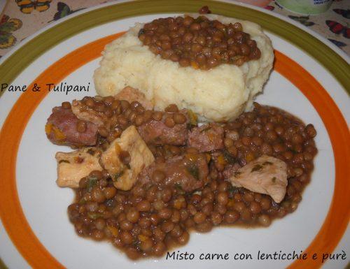 Misto carne con lenticchie e purè