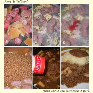 Misto carne con lenticchie e purè.3