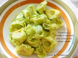 Tortellini ricotta e spinaci con crema di salsa verde.2