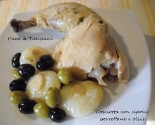 Cosciotta con cipolle borrettane e olive.1