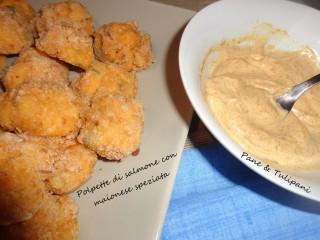 Polpette di salmone con maionese speziata.2