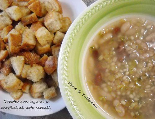 Orzotto con legumi e crostini ai sette cereali