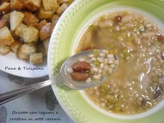 Orzotto con legumi e crostini ai sette cereali.2c