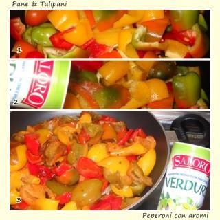 Pollo, patate e peperoni fritti con aromi.3