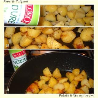 Pollo, patate e peperoni fritti con aromi.4