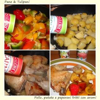 Pollo, patate e peperoni fritti con aromi.5