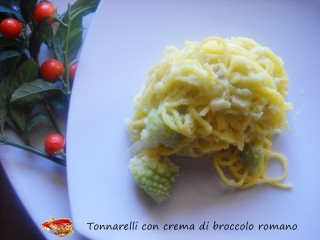 Tonnarelli con crema di broccolo romano