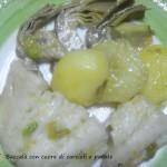 Baccalà con cuore di carciofi e patate