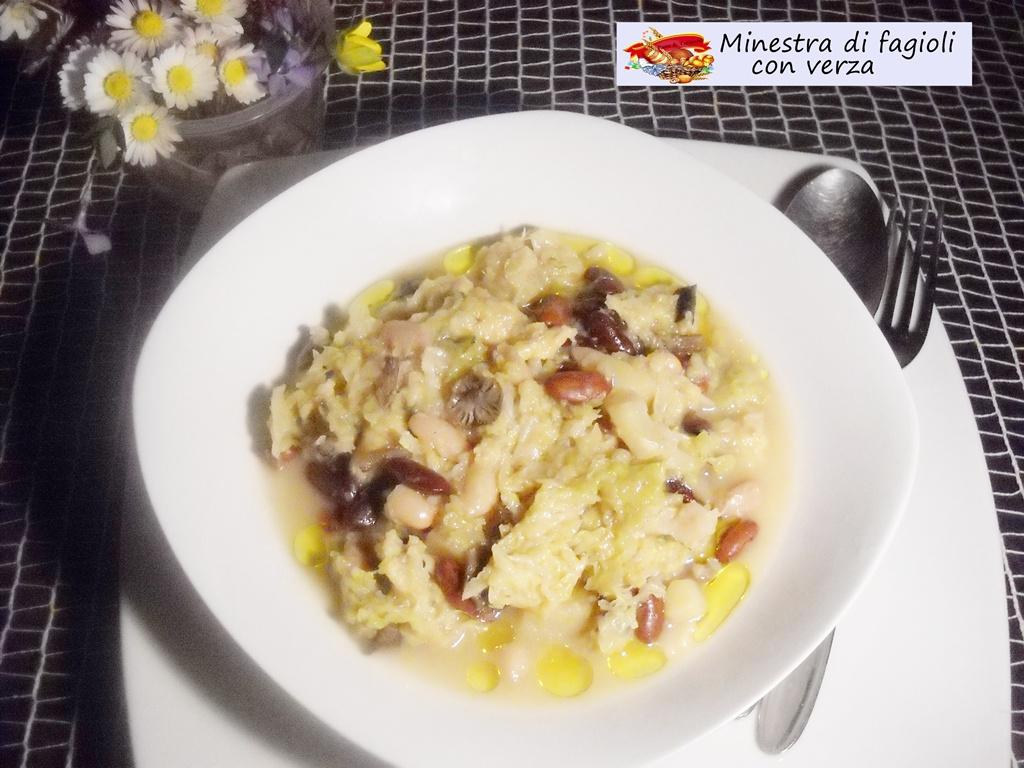 minestra di fagioli con verza