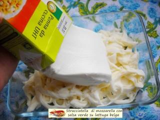 Stracciatella di mozzarella con salsa verde su lattuga.4
