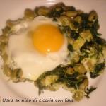 Uova su nido di cicoria con fave