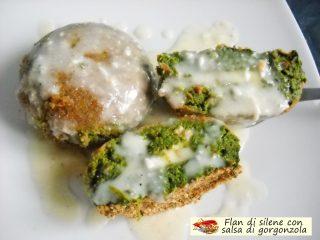 Flan di silene con salsa di gorgonzola