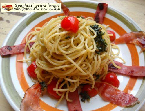 Spaghetti primi funghi con pancetta croccante