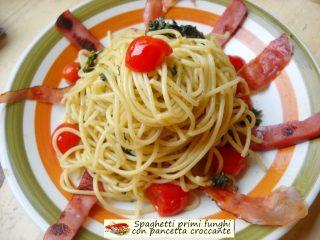 Spaghetti primi funghi con pancetta croccante.4