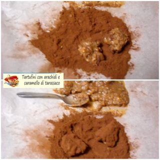 Tartufini con arachidi e caramello di tarassaco.6