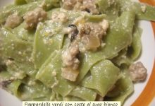 Pappardelle verdi con coste al sugo bianco