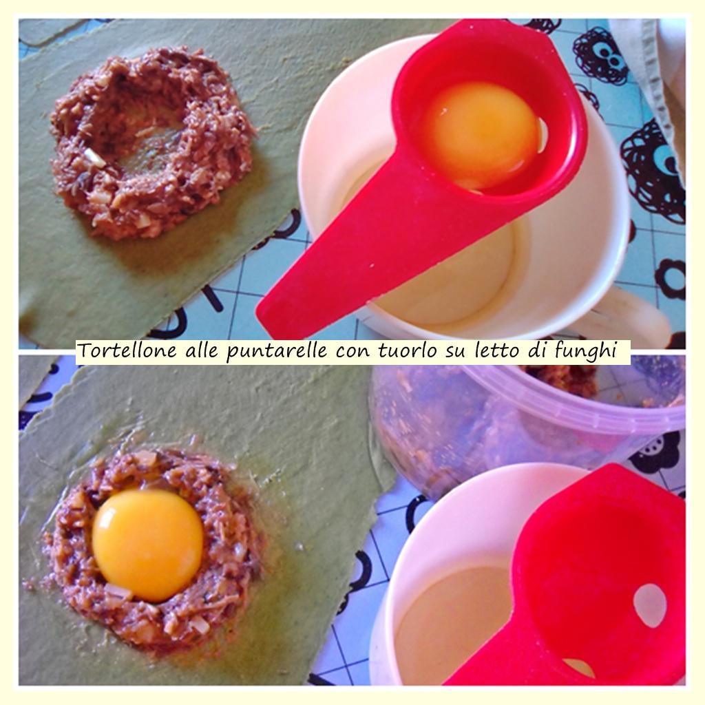 tortellone alle puntarelle con tuorlo su letto di funghi