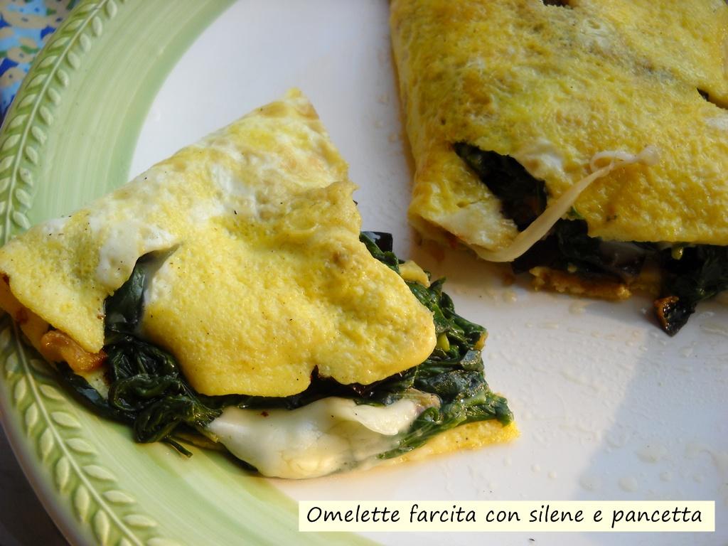omelette farcita con silene e pancetta