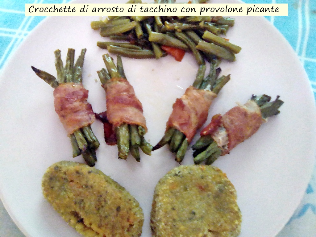 crocchette di arrosto di tacchino con provolone piccante