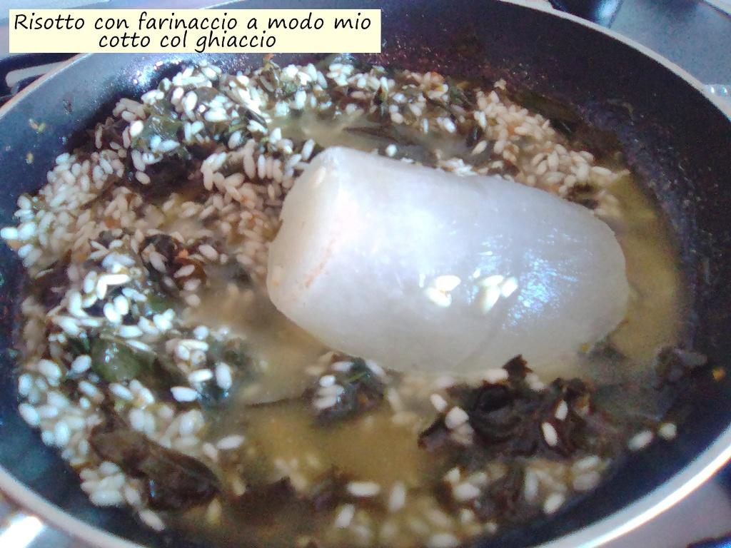 risotto con farinaccio a modo mio cotto col ghiaccio