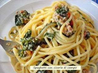 spaghetti con cicoria di campo