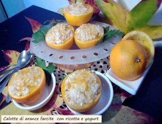 calotte di arance farcite con ricotta e yogurt