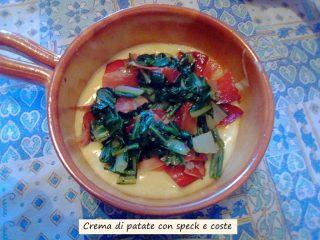 Crema di patate con speck e coste