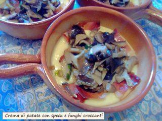 Crema di patate con speck e funghi croccanti