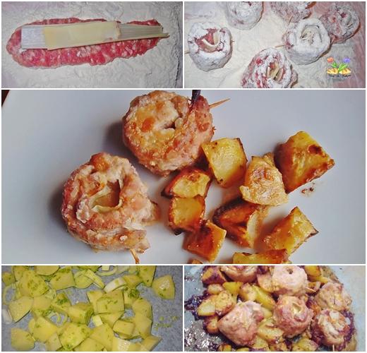 involtini di luganega al forno con patate