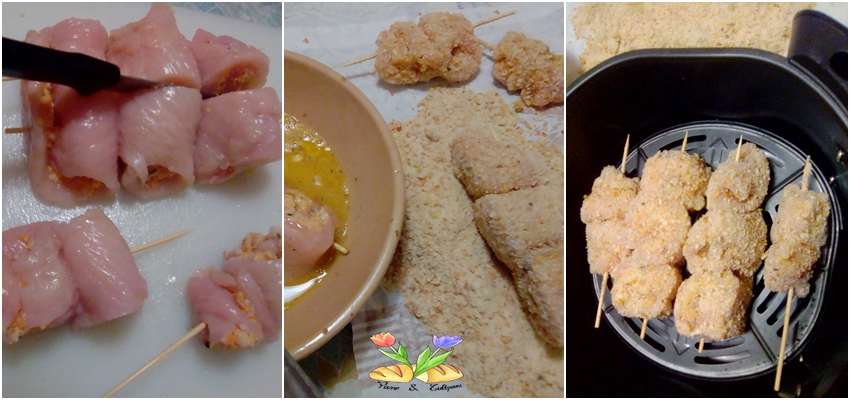 spiedini di pollo farciti cotti in airfryer